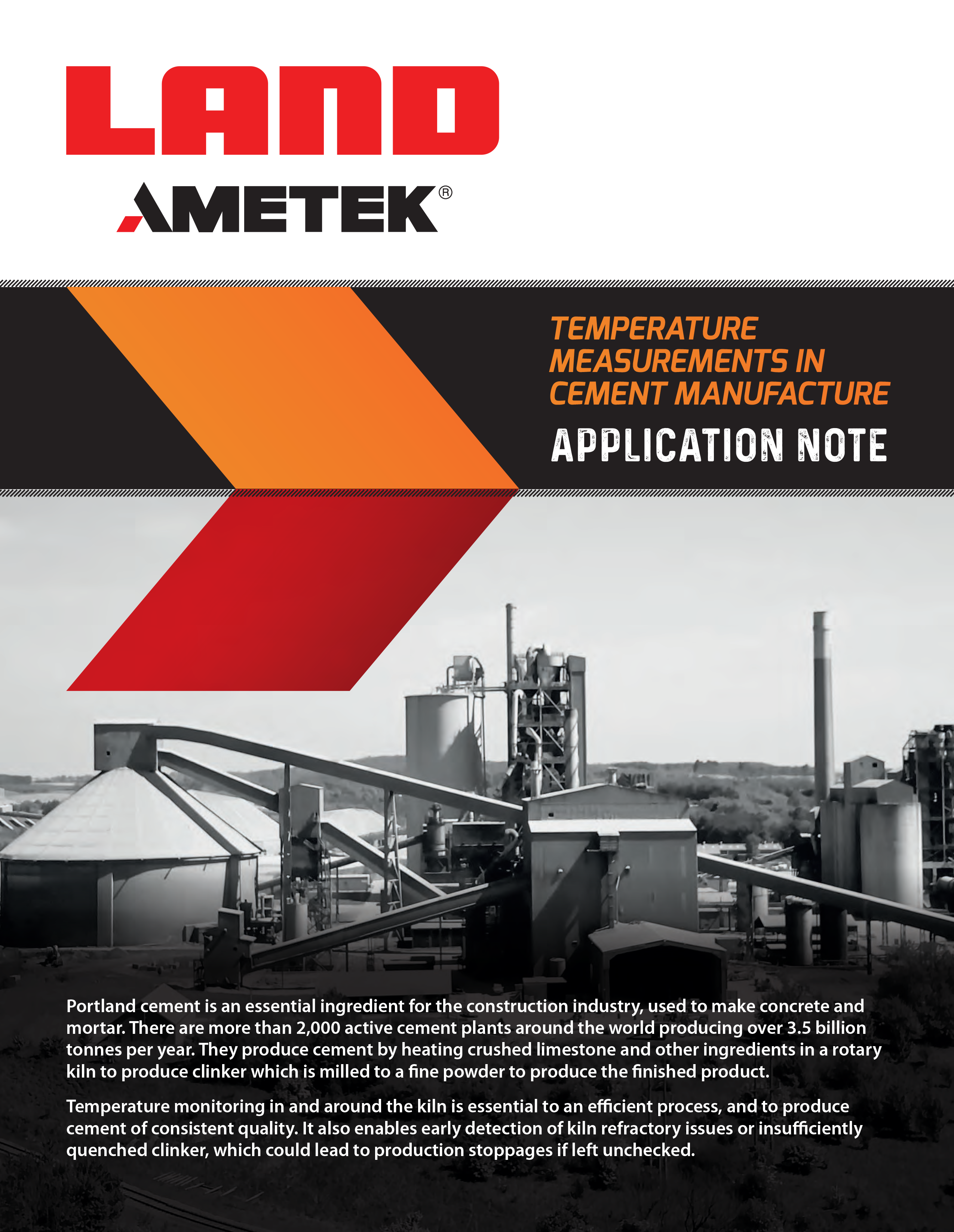 Application Note - TEMPERATURE MEASUREMENTS IN CEMENT MANUFACTURE