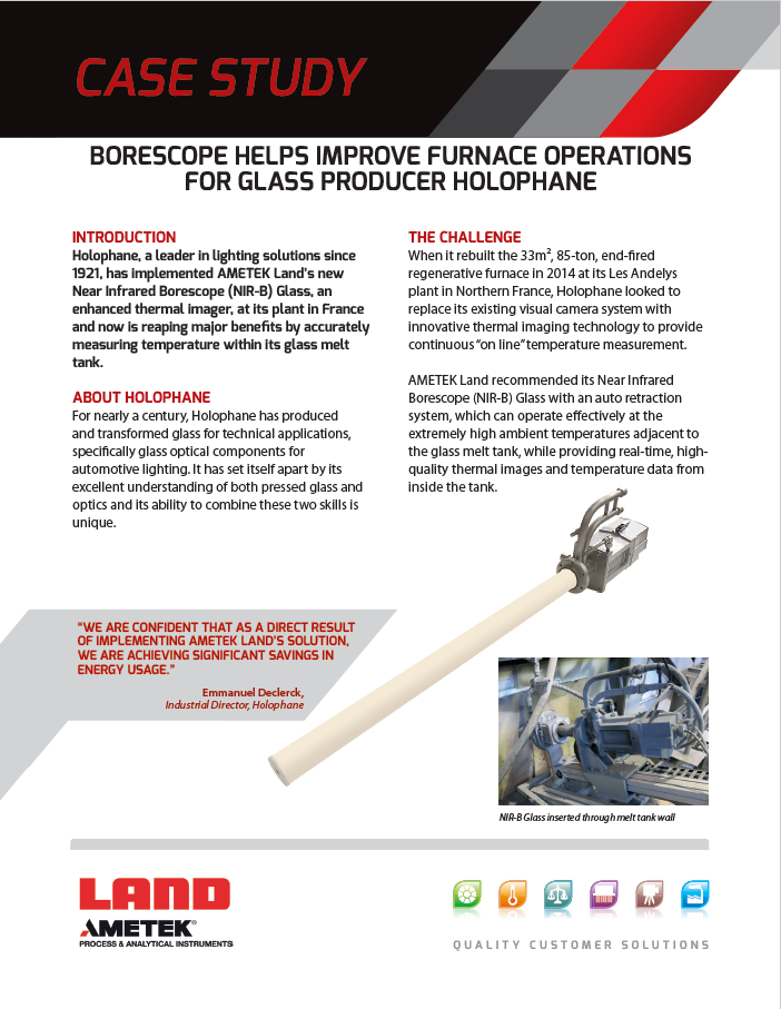 Borescope Helps Improve Furnace Operations for Glass Producer Holophane